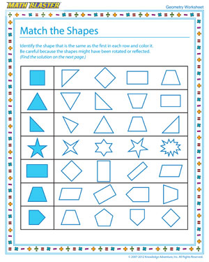 Printable Geometry Worksheet for Elementary