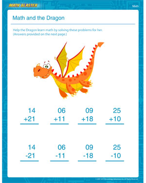 Math and the Dragon - Printable Math Worksheet for 1st Grade