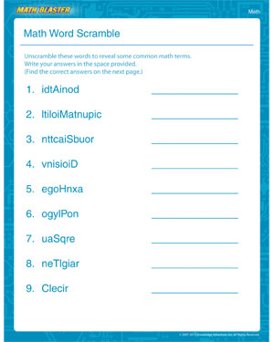Math Word Scramble – 1st Grade Math Worksheet Online – Math ...