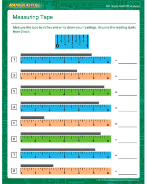 Measuring Tape – Free Measuring Worksheet for 6th Graders – Math ...