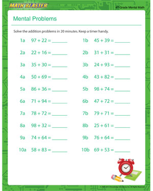 Mental Problem - Free Printable Math Worksheet for 4th Grade