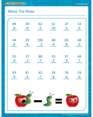 Minus the Rows – Free Subtraction PDF for 3rd Grade – Math Blaster