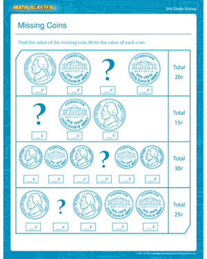 Missing Coins - Free Money Worksheet for 3rd Grade