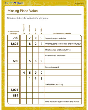 math worksheet : missing place value  download free place value worksheets  math  : Math Worksheets On Place Value