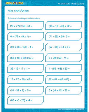 math worksheet : mix and solve  free 7th grade math printable pdf worksheet  math  : 5th Grade Advanced Math Worksheets