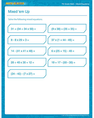 Math Worksheet 7th Grade Math Printable Mixed Equation