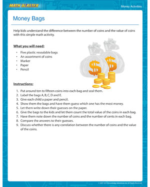 Money Bags - Did you see this Printable Money Activity for Your Child?