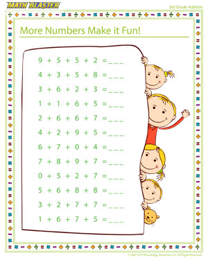 math worksheet : more numbers make it fun!  addition printable for 4th grade  : 3rd Grade Math Practice Worksheets