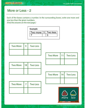 More or Less – 2 - Printable Math Worksheet for 1st Grade