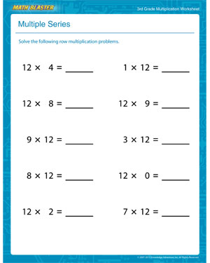 math worksheet : multiple series  free printable multiplication worksheet for 3rd  : Third Grade Math Multiplication Worksheets