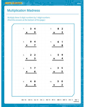 math worksheet : multiplication madness  1st grade math worksheet  math blaster : 4 Grade Multiplication Worksheets