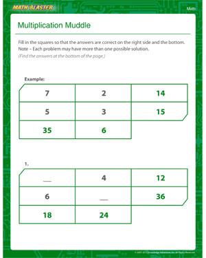 Multiplication Muddle - Printable Multiplication Worksheet for Kids