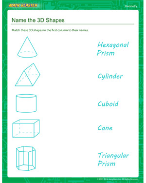 Name the 3D Shapes – Free Geometry Worksheets – MathBlaster