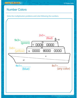 math worksheet : number colors  free multiplication pdf for 3rd grade  math blaster : Free Multiplication Worksheets For 3rd Grade