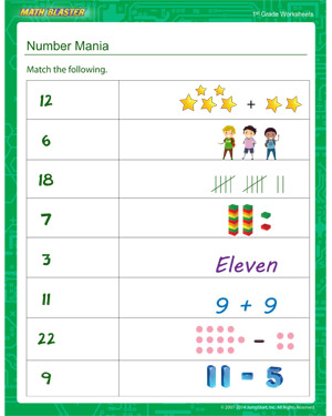 Number Mania - Printable Math Worksheet for Kids