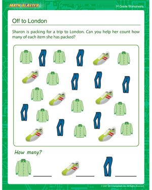 Off to London - Printable Math Worksheet for Kids