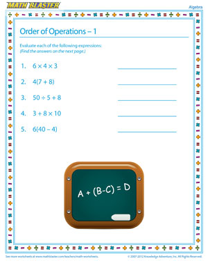 Order of Operations – 1 - Interesting Algebra Worksheet for Kids