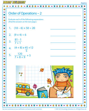 Order of Operations – 2 - Printable Algebra Worksheet for Kids