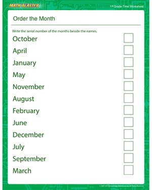 Order the Month - Printable Time Worksheet for Kids