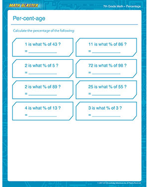 Per-cent-age - Free Math Worksheet for 7th Grade