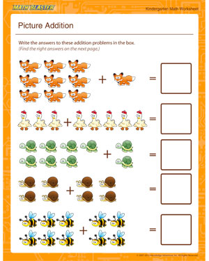 Picture Addition – Free Kindergarten Math Worksheets – Math Blaster