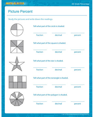 Picture Percent – Percentage Worksheet for 4th Grade Kids – Math Blaster