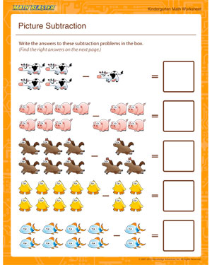 Picture Subtraction - Printable Math Worksheet for Kindergarten