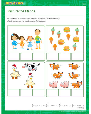 math worksheet : picture the ratios  printable ratio worksheet  math blaster : Math Worksheet For Kids