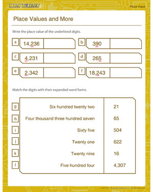 Place Values and More - Place value worksheet for kids