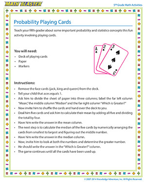Probability Playing Cards - Printable Online 5th Grade probability Activity for Kids
