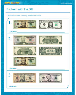 Problem with the Bill - Free Money Worksheet for 4th Grade