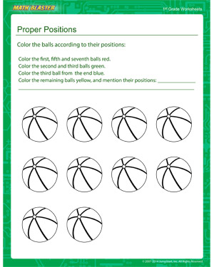 Proper Positions - Printable Math Worksheet for Kids