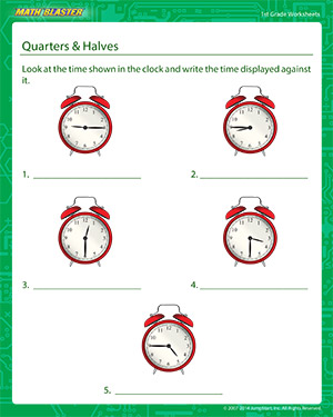 Quarters and Halves - Printable Math Worksheet for Kids