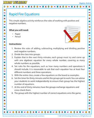 Rapid Fire Equations - Printable Algebra Activity for Kids