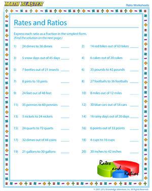 Try 'Rates and Ratios – 1' - Printable Ratio Worksheet for Elementary