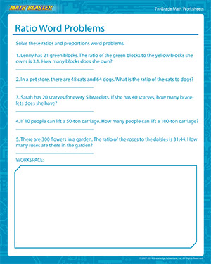 Ratio Word Problems Worksheets for 7th Grade