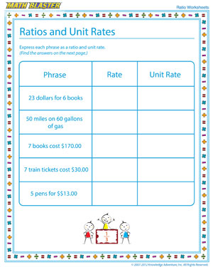 Worksheet Unit Rates Worksheet 7th Grade ratios and unit rates ratio worksheet free printables math blaster rates