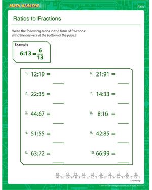 Ratios to Fractions – Free Ratio Worksheet Online – Math Blaster