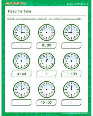math worksheet : read the time  free time worksheet for 3rd grade  math blaster : Third Grade Worksheets Math