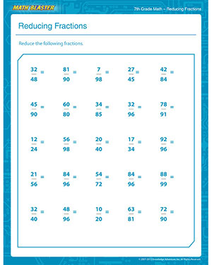 math worksheet : reducing fractions  printable math pdf worksheet for 7th grade  : Simplyfying Fractions Worksheet