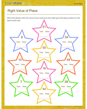 Right Value of Place - Place value worksheet for kids