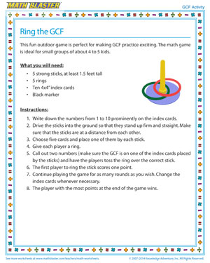 Ring the GCF - Printable GCF Activity for Kids