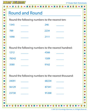 Round and Round - Printable Math Worksheet for Kids