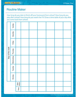 Routine Maker - Free Time Worksheet for 3rd Grade