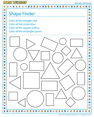 Triangle Worksheets For First Grade: Shape Finder – Printable Geometry Worksheets for 1st Grade – Math    ,
