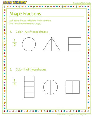 Shape Fractions - Printable Fractions Worksheet for Elementary Graders