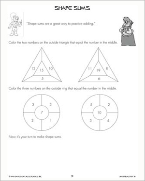 Shape Sums - Free Printable Worksheet for Kids