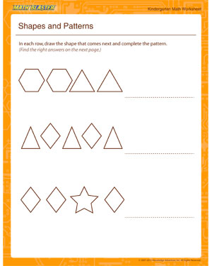 shapes and patterns kindergarten math worksheet printables math blaster. Black Bedroom Furniture Sets. Home Design Ideas