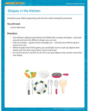 Download 'Shapes in the Kitchen'- MathBlaster's Preschool Math Activity for kids