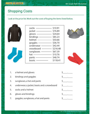 math worksheet : shopping costs  free printable math worksheets for 6th grade  : Math Worksheets 6th Grade Printable